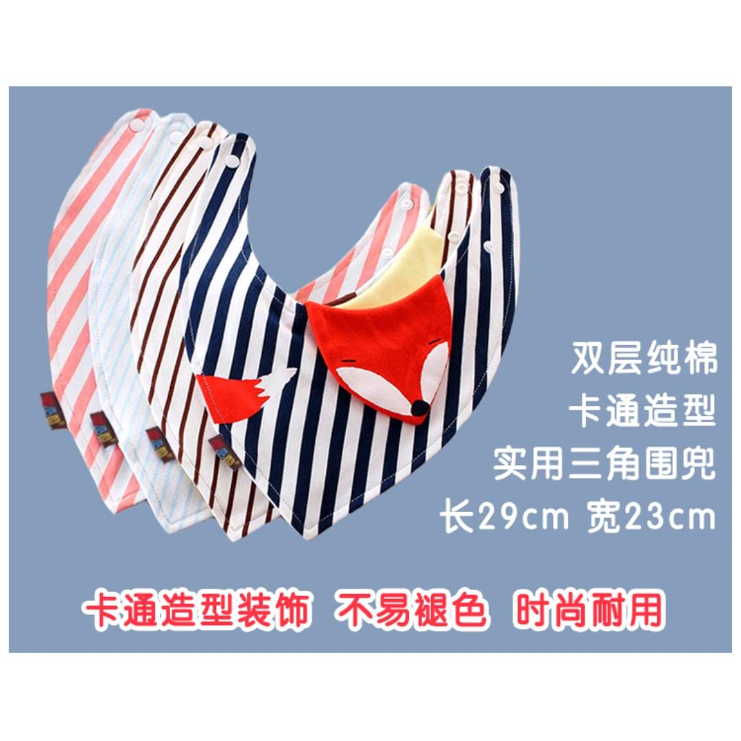 #預購童裝2館0521韓版男女寶寶圍嘴雙層純棉按扣三角巾-動物造型