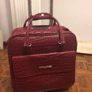 Burgundy Travel Or Office Bag On Wheels
