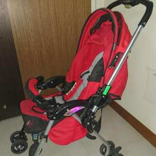 Red Capella Pram (Max Weight 18.1kg, Height 96cm) Manual Included
