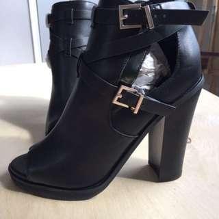 Black Ankle Peep Toe Boots