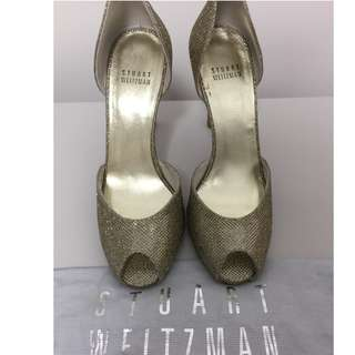 Stuart Weitzman glitter gold high heels (4 inches)