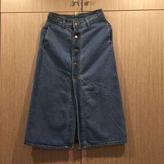 深藍色牛仔/A字裙/高腰/M號