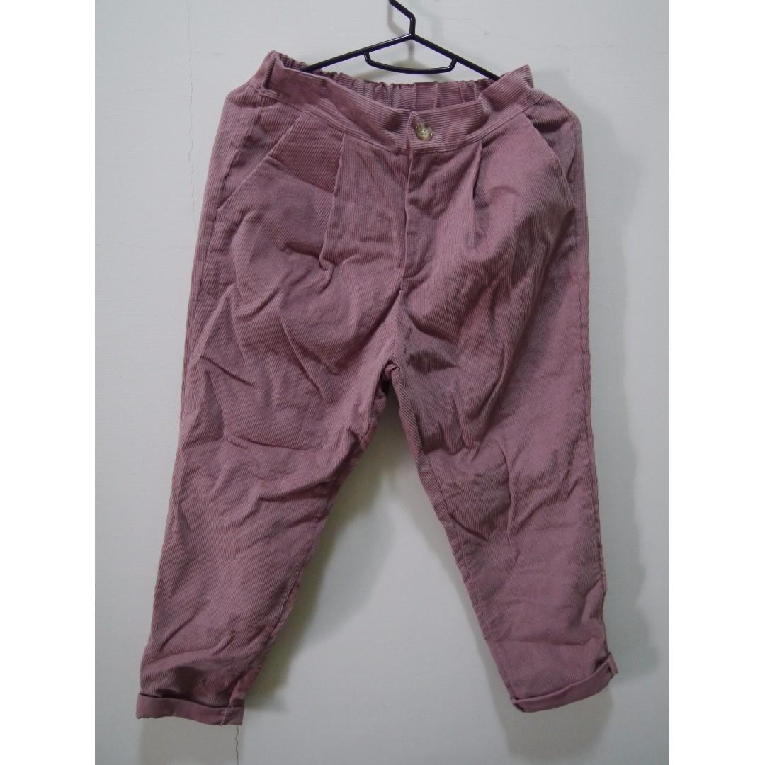 全新燈芯絨粉色9分褲