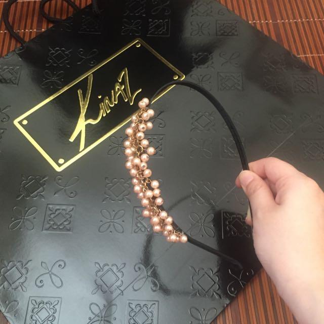 粉紅珍珠髮箍