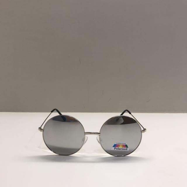 (含運)美國復古銀色圓框偏光太陽眼鏡
