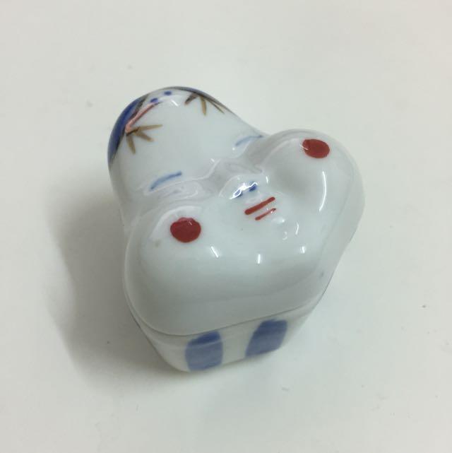 日本面具小瓷盒