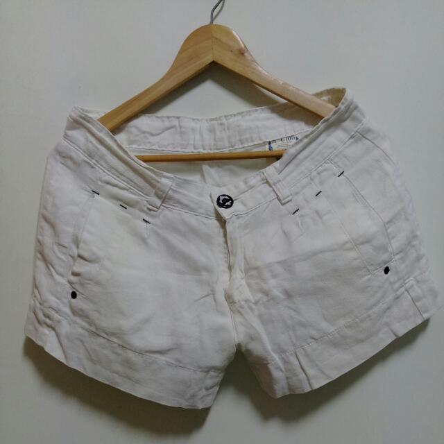 麻料休閒短褲