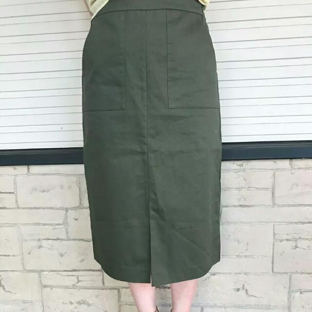 日本 軍綠色窄長裙