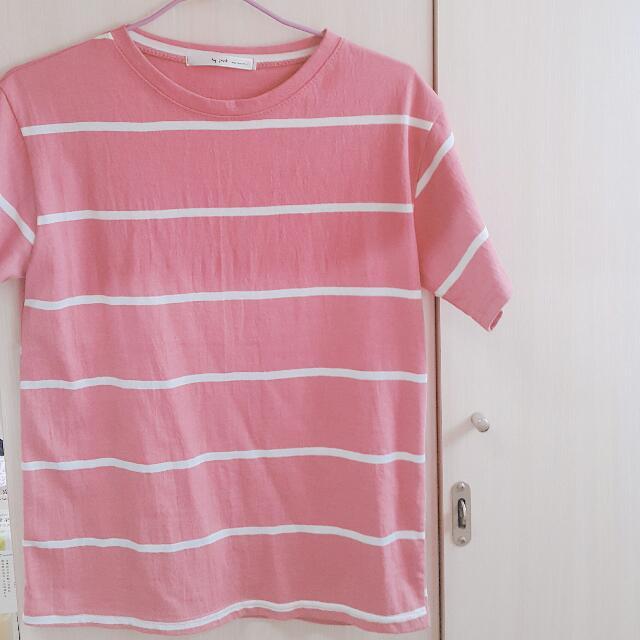 正韓 全新 粉色條紋短袖上衣
