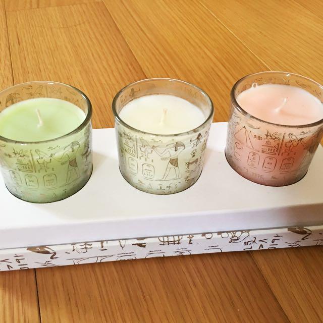 埃及展 購入 玻璃杯香氛 三入禮盒欸