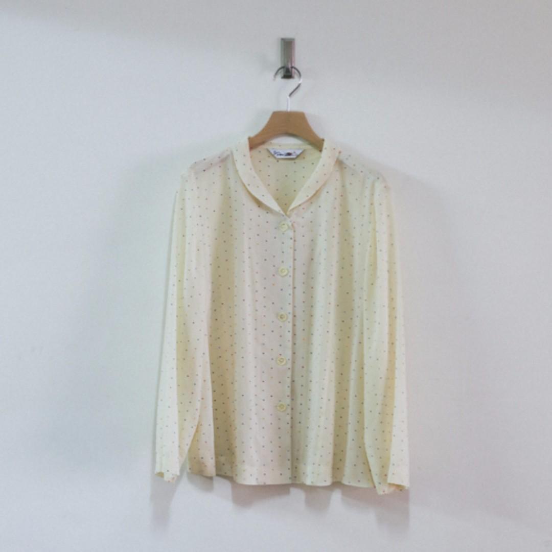 法國 古著 Vintage / 彩色水玉 輕薄 圓領襯衫