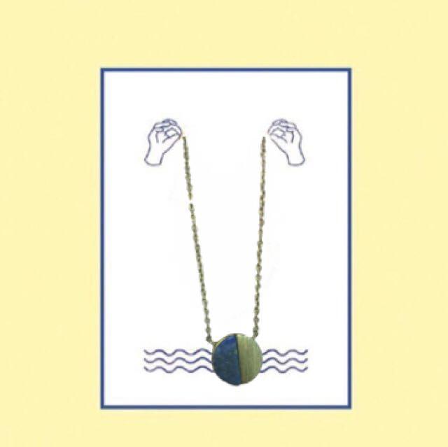 復古 古銅色x靛藍項鍊