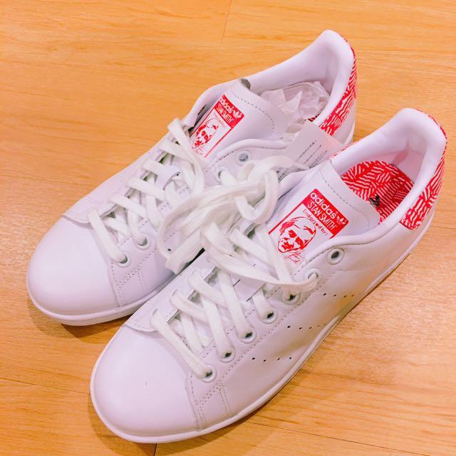 adidas original Stan Smith W/紅/花紋/uk5.5