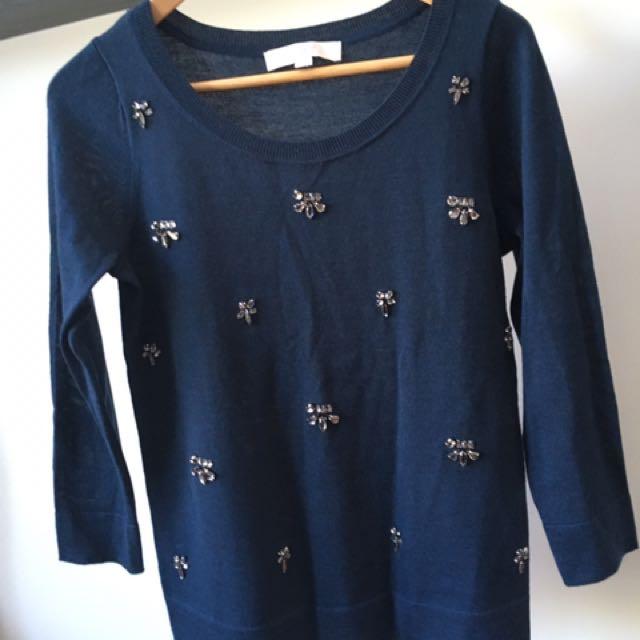 Ann Taylor Loft Teal Sweater