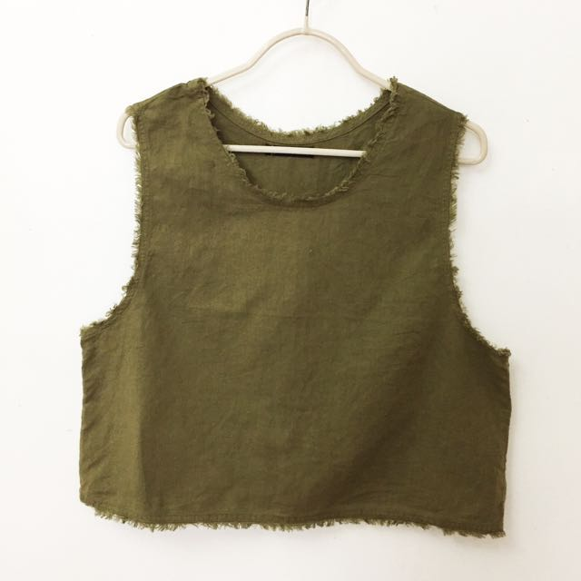Army Green Sleeveless Top