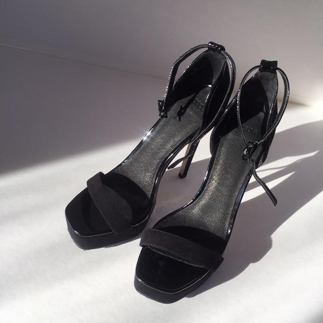ASOS black suede thin strap heel