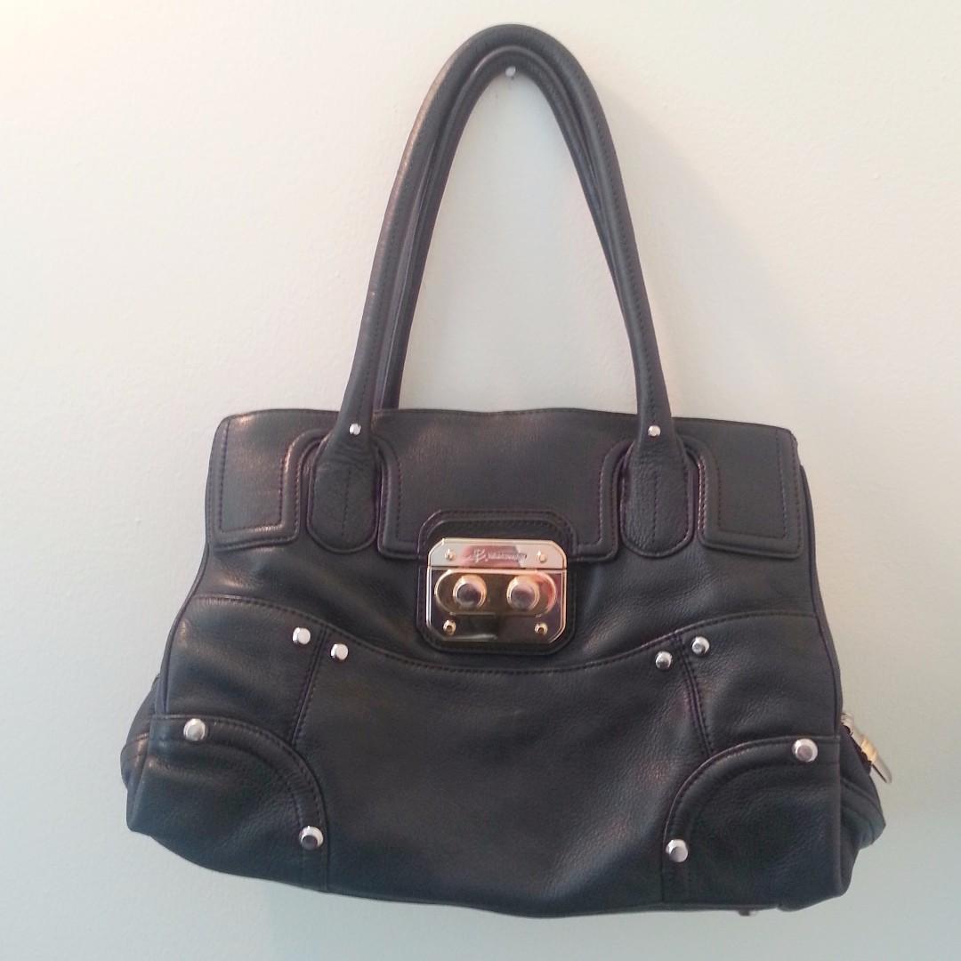 B. Makowsky Black Leather Handbag