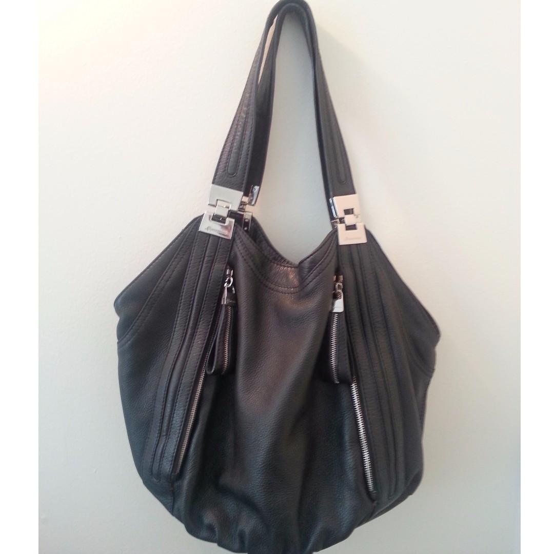 B. Makowsky Black Leather Tote