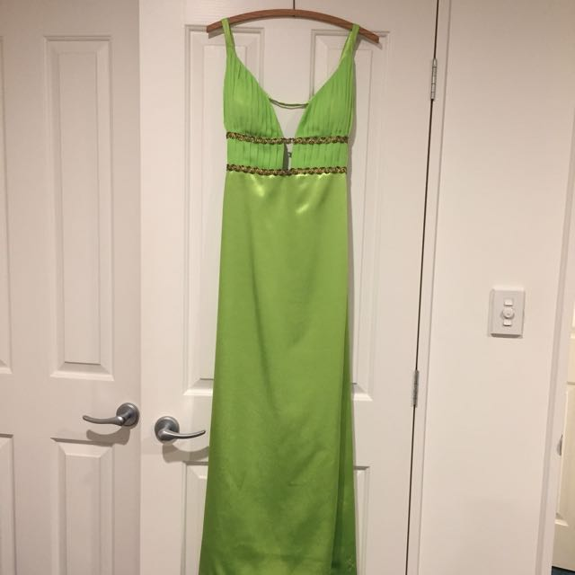 Ball Gown - Open Back Apple Green Approx Size 6