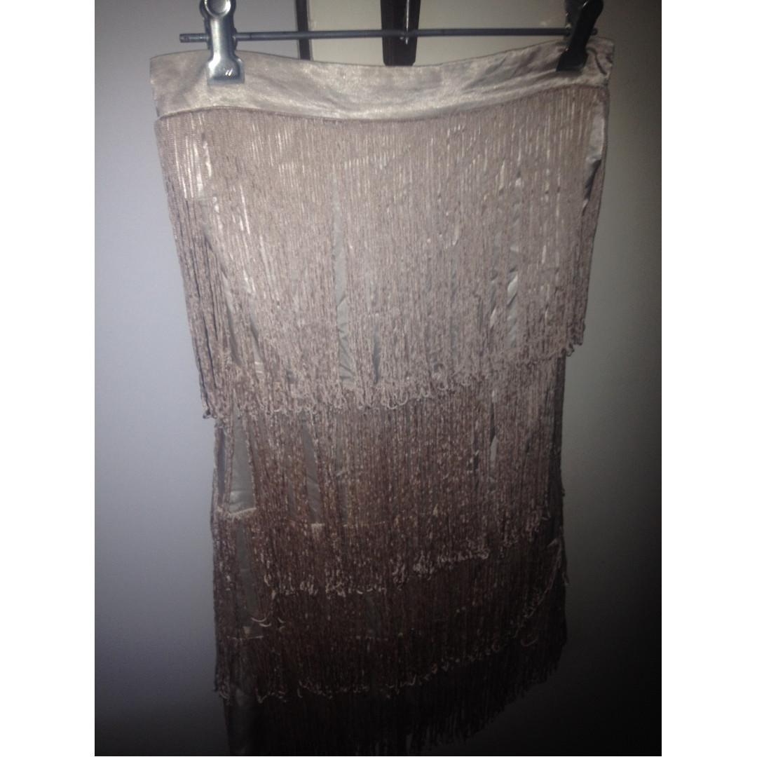 Bardot Nude Strapless Mini Dress with Tassels!
