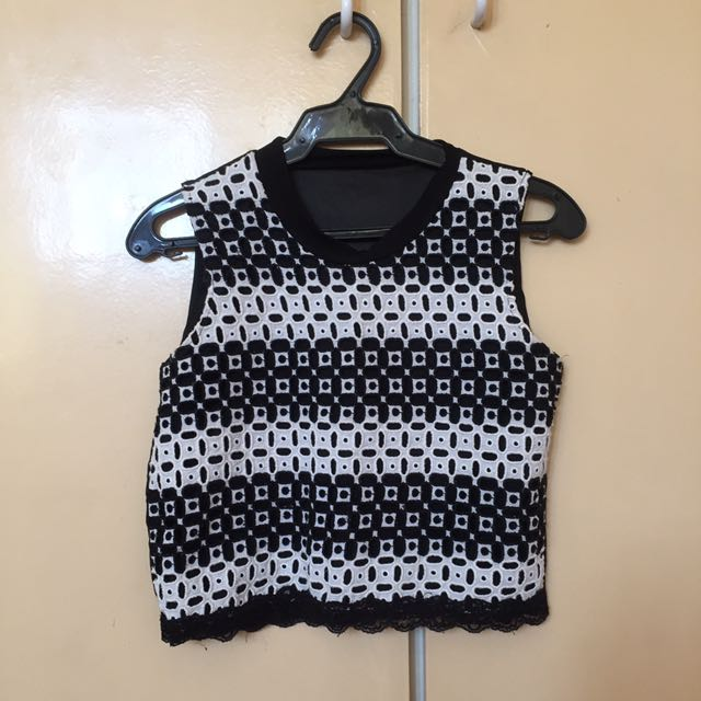 Black & White Detailed Cropped Top