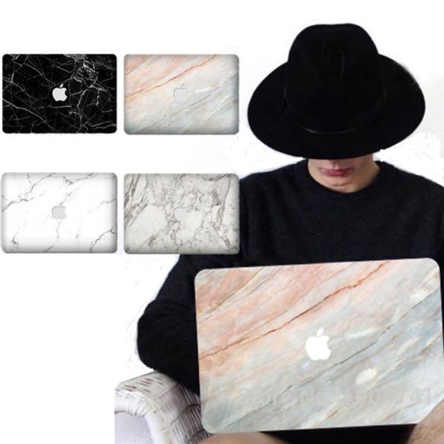 "Black Marble Vinyl MacBook Sticker 11"""