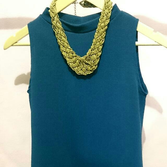 Blue Green Turtle Neck Dress