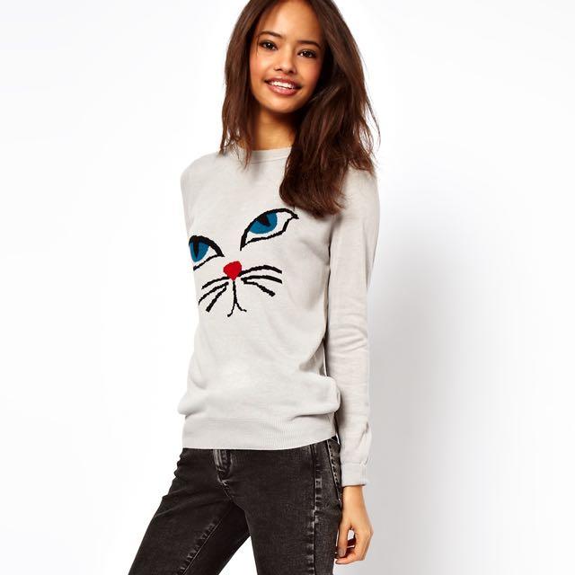 7144198c70b BN ASOS Petite Cat Graphic Sweater, Women's Fashion, Clothes, Tops ...