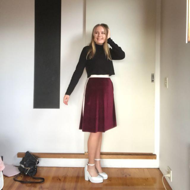 CELESTE TESORIERO Purple Velvet Skirt