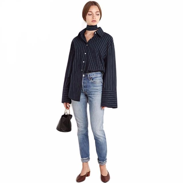 Collar Basic Striped Shirt