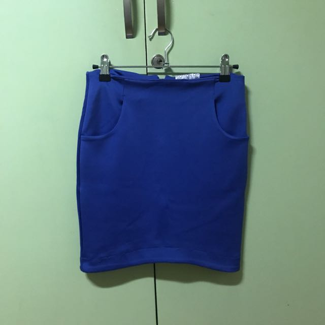 Cotton On Electric Blue Scooped Bandage Skirt
