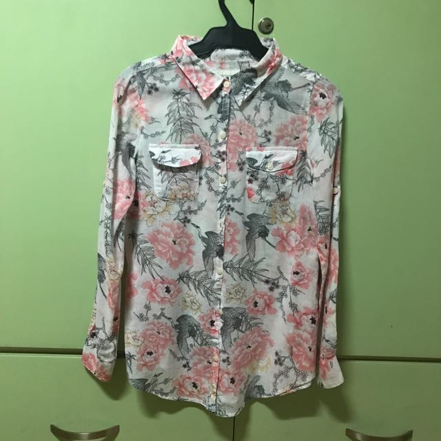 Cotton On Salmon Print Polo Top