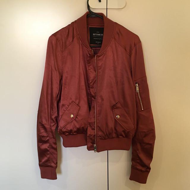 CottonOn Metallic Red Copper Bomber
