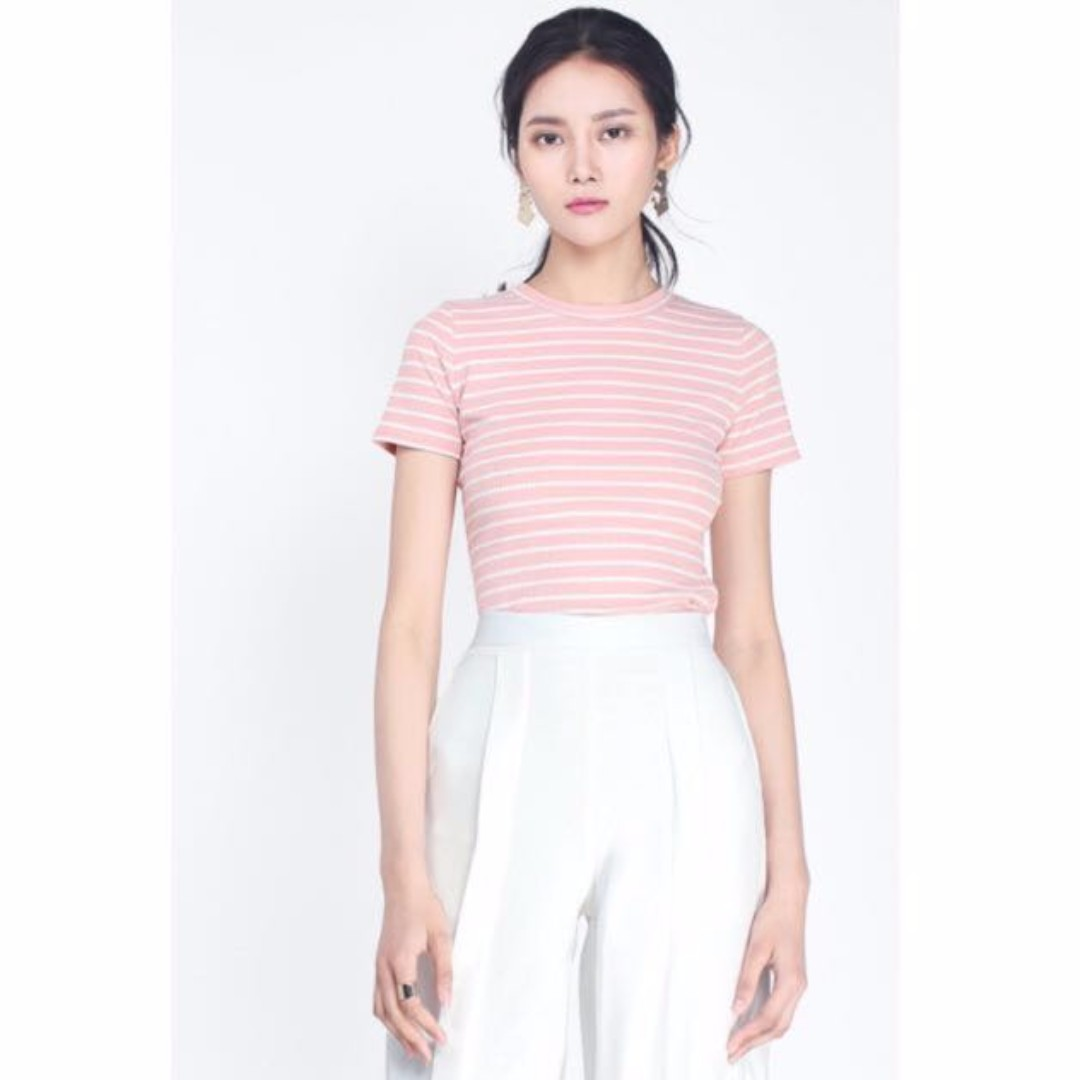 c4e0b9c07b43d Fayth Mary Kate Striped Tee In Pink Size M