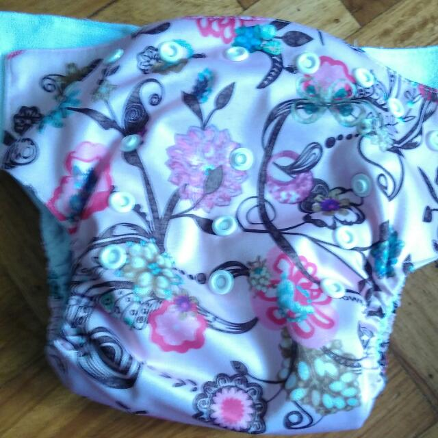 Flowery Cloth Diaper Cover With Insert