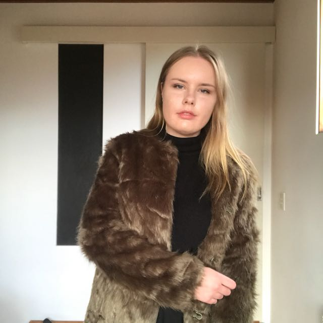 GOLDIE Green Faux Fur Coat