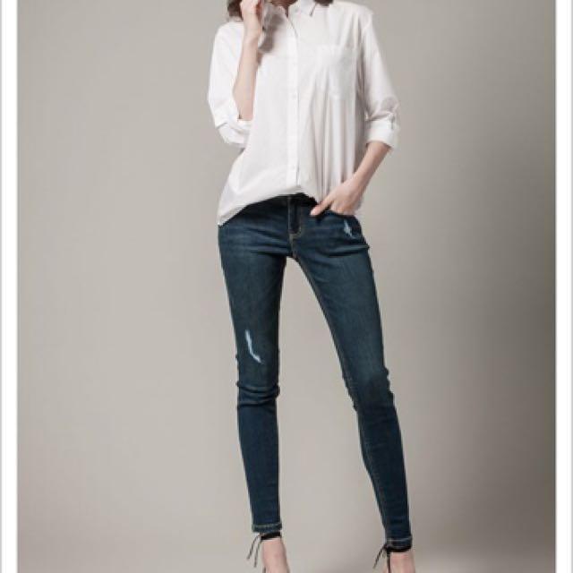 H Connect 修身刷白小腳褲-深藍