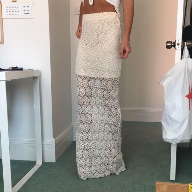 High Waist Ivory Maxi Skirt