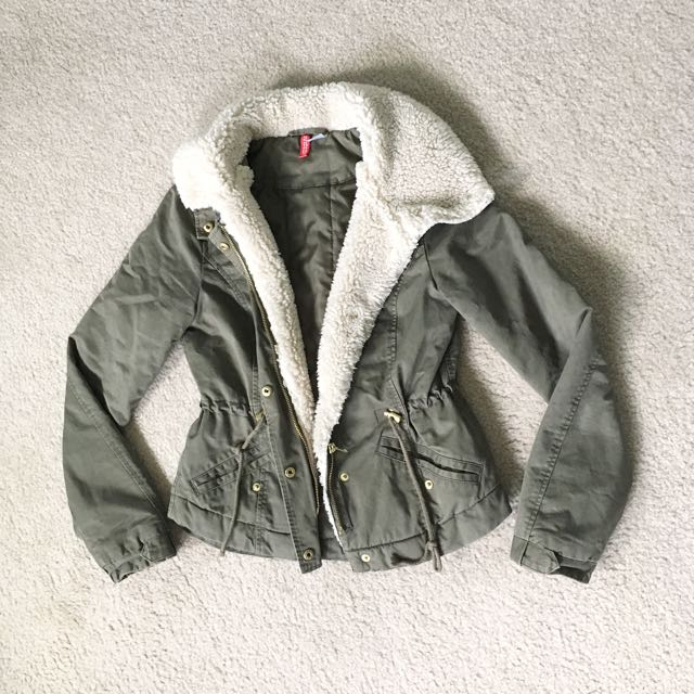 H&M Shearling Lined Olive Jacket