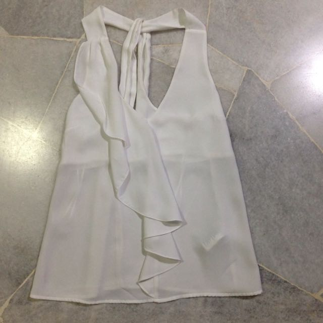 H&m White Satin Ruffle Top