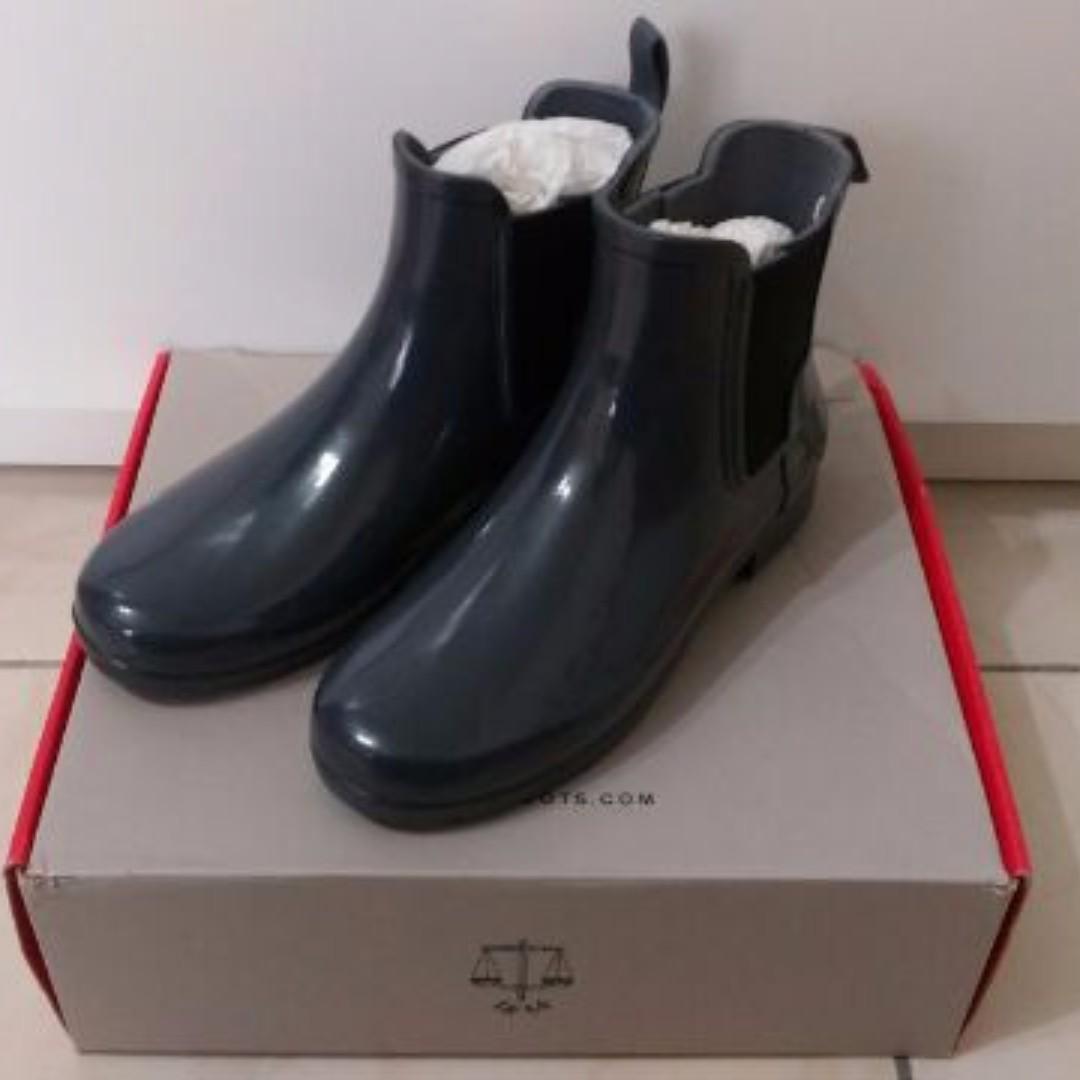 全新正品Hunter Chelsea Wellington Boots 雨靴 短靴 藍 UK3
