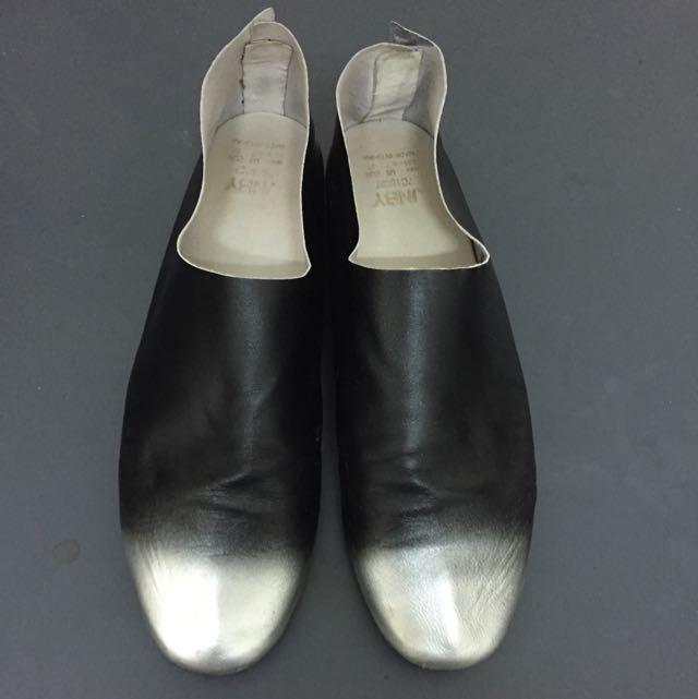 JNBY 銀色黑色漸層極簡風 懶人鞋 超薄真皮 極軟 平底鞋