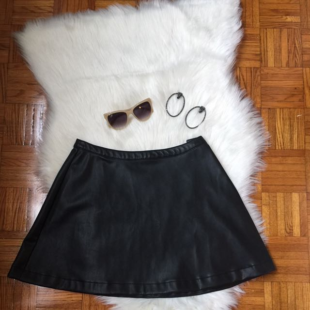 Leather Mini Skirt - Bell Shaped