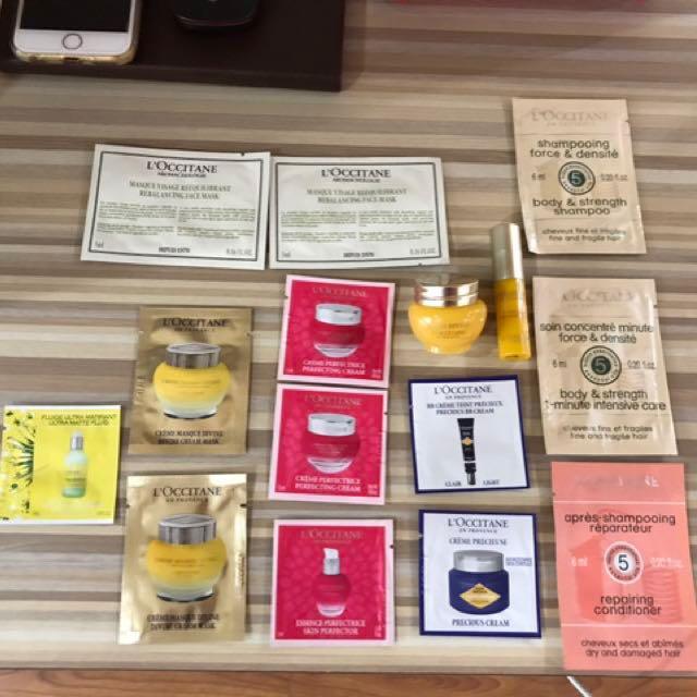 L'OCCITANE 27 Sample Items + Free 1 Pouch
