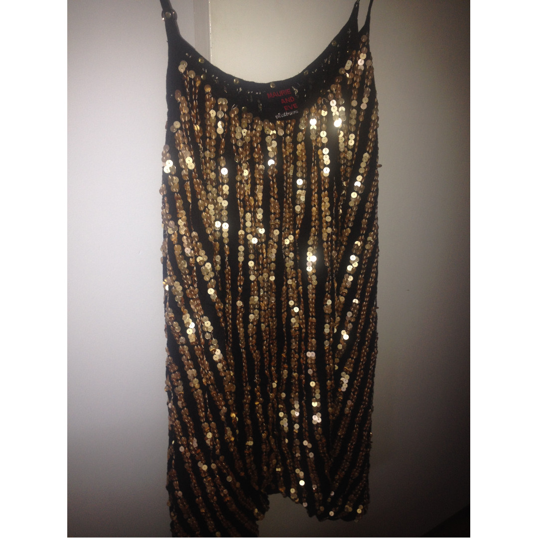 Maurie & Eve Platinum Gold Sequin Dress