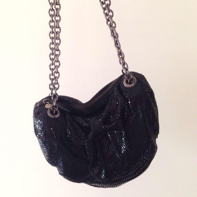 Mimco Black Metal Mesh Bow Bag