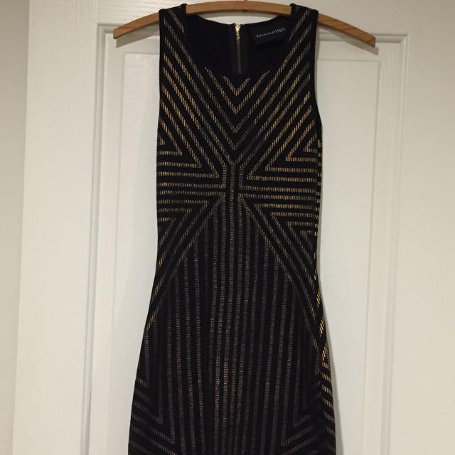 MINK PINK Black/gold Bodycon Dress Size XS