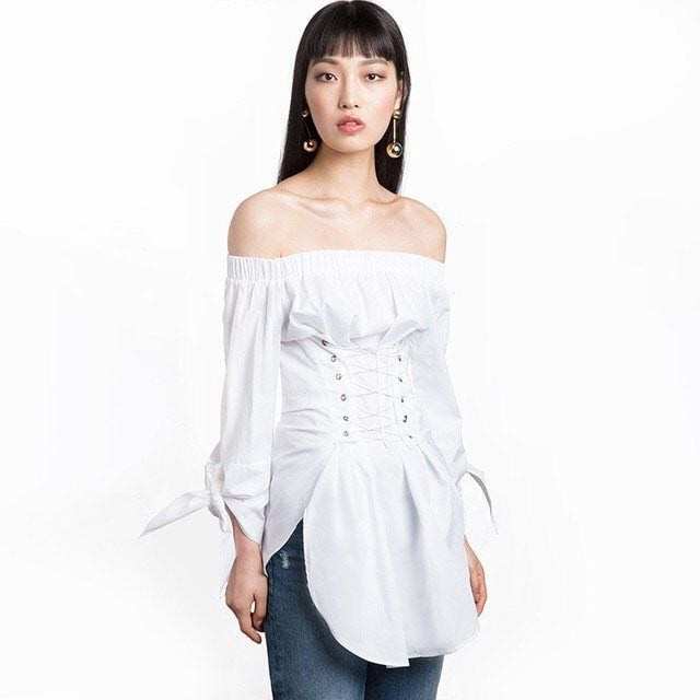 New Season Off Shoulder White Shirt