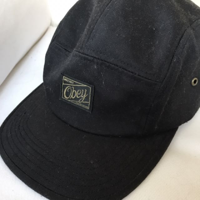 8130349eaf511 Obey Five Panel Hat Black, Women's Fashion, Accessories on Carousell