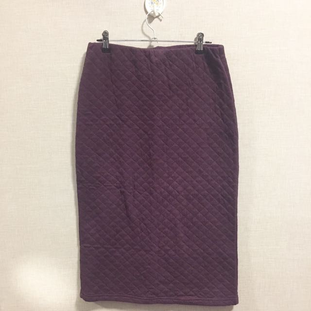 PINX Maroon Quilted Skirt